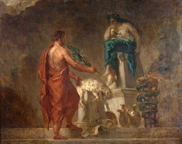 Lycurgus Consulting the Pythia by Eugene Delacroix
